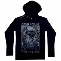 Arch Enemy Time Is Black Ladies Long Sleeve Hooded Shirt