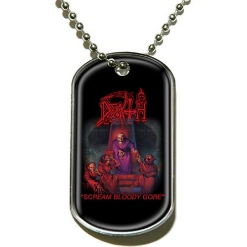 Death Scream Bloody Gore Dog Tag Necklace