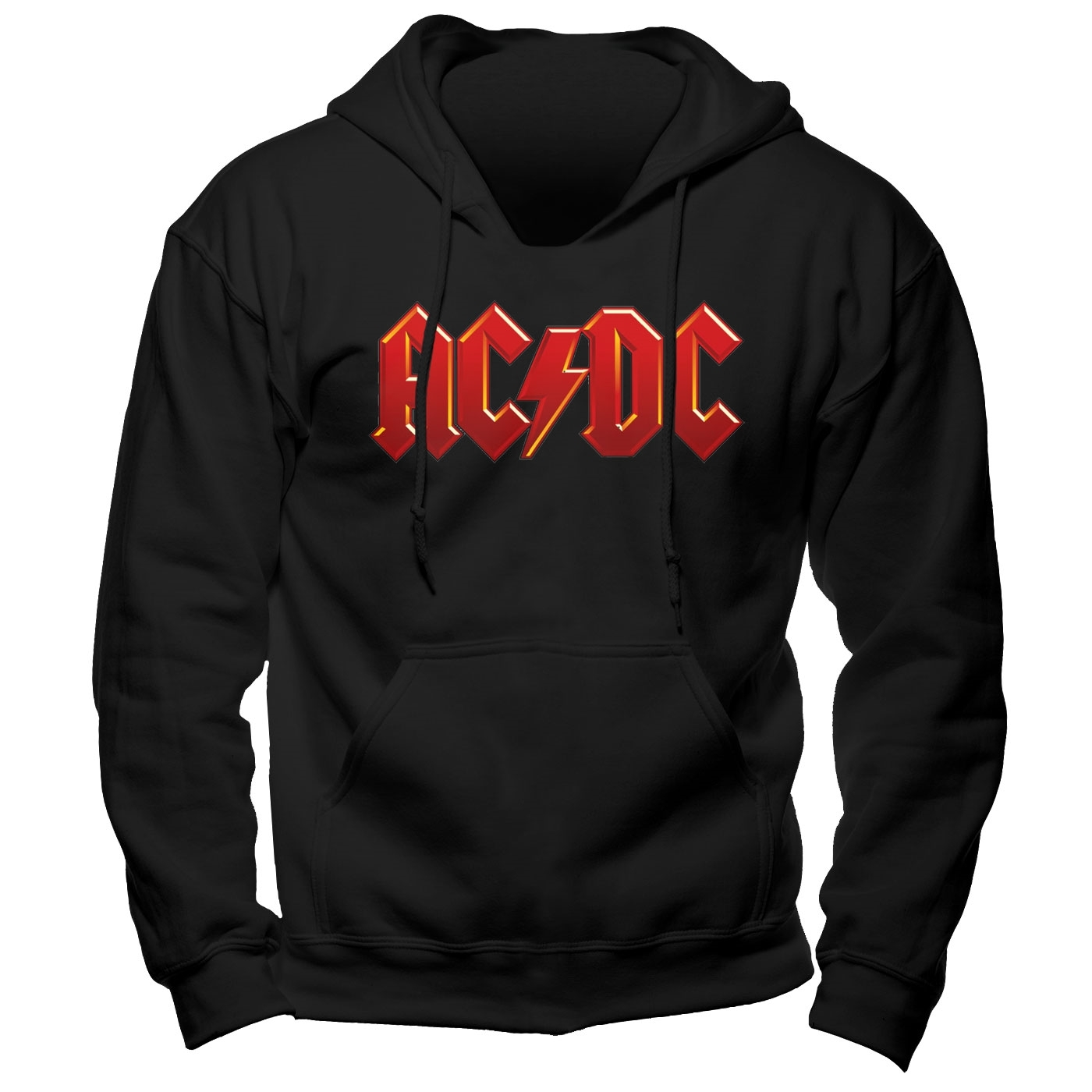 Details about ACDC Logo Hoodie S M L XL XXL Official Black Hooded Sweatshirt Rock Band Hoody