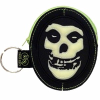 Misfits Fiend Skull Logo Glow In The Dark Purse Zip Wallet