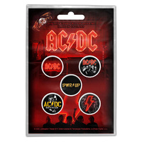 AC/DC PWR UP Button Badge Set