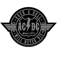 AC/DC Rock N Roll Will Never Die Cut-Out Patch