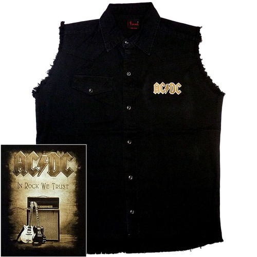 AC/DC In Rock We Trust Sleeveless Work Shirt [Size: M]